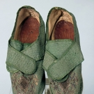 PAIR GREEN SILK LADY'S SHOES, FRANCE c. 1720