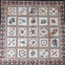 BROIDERIE PERSE APPLIQUE QUILT, 1830s