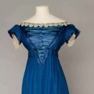 COBALT SILK EVENING GOWN, 1820s