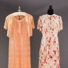TWO SILK CHIFFON DAY DRESSES, 1930