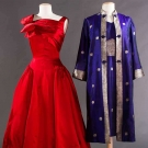 TWO SILK PARTY DRESSES, 1950-1960s