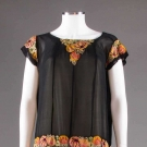 EMBROIDERED BLACK CHIFFON PARTY DRESS, 1920s