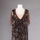 CHOCOLATE SEQUINED & BEADED EVENING DRESS, EARLY 1920s
