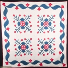 RED, WHITE & BLUE WHIG ROSE QUILT, 1850-1870