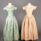 TWO SILK EVENING GOWNS, c. 1850