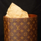 LOUIS VUITTON LEATHER WASTE BASKET, 1970s
