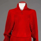 JEAN MUIR RED KNIT DRESS, LONDON, 1980s