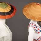 TWO STRAW NOVELTY BEACH HATS, 1920-1930s
