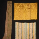 PRIEST STOLE & TWO SILK REMNANTS, 1580-1620