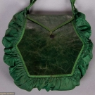 LADY'S LEATHER & SILK RETICULE, 1810-1820s