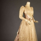 SILK BROCADE & LACE TEA GOWN, c. 1888