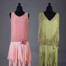 ONE PINK & ONE GREEN FLAPPER DRESS, 1920s