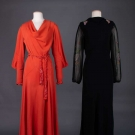 ONE RED & ONE BLACK EVENING DRESS, 1930s