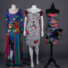 THREE DEADSTOCK PRINTED PARTY DRESSES, 1990s