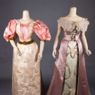 ONE PINK & ONE LILAC SILK BALLGOWN, 1890s