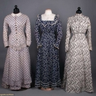 THREE PRINTED COTTON DAY DRESSES, 1880-1900