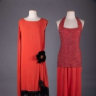TWO LADIES RED EVENING GOWNS, c. 1928 & 1945