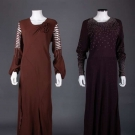 TWO BEADED BROWN EVENING GOWNS, 1930s