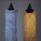 ONE GOLD & ONE BLUE BEADED DRESS, 1920s