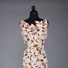 BROWN & WHITE PRINTED SILK TEA DRESS, 1930s