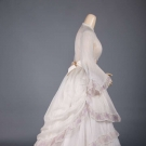 ORGANDY BUSTLE DRESS, 1860s