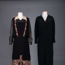 TWO BLACK SILK DAY DRESSES, c. 1930