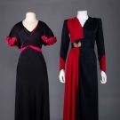 TWO 2-TONE EVENING GOWNS, 1930-1940s