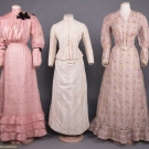 TWO PINK & ONE IVORY DAY DRESS, 1880-1900