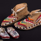 TWO PAIR BEADED NATIVE AMERICAN MOCCASINS