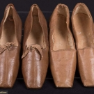 TWO PAIR BROWN LEATHER LADIES SHOES, 1830-1850