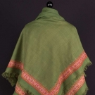 GREEN WOOL & PAISLEY TURN-OVER SHAWL, 19TH C.