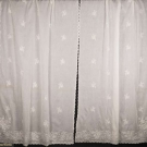 GROUP OF TAMBOUR EMBROIDERED CURTAINS & CAFÉ CURTAINS