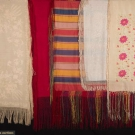 FIVE FIRNGED SILK SHAWLS, LATE 19TH-EARLY 20TH C