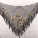 ONE EMBROIDERED SHAWL & TWO LACE BONNET VEILS, 1820-1860s