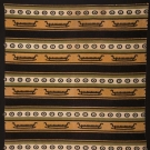 BLACK, OLIVE & MUSTARD STRIPED WOOL BLANKET, c. 1900