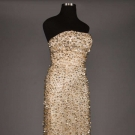 TWO PIECE BEADED & SEQUINED WHITE SILK GOWN, 1960s