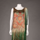 PRINTED & FRINGED LAME BROCADE EVENING DRESS, MID 1920s
