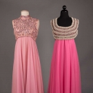 TWO PINK BEADED EVENING GOWNS, 1960s