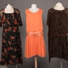 THREE SILK CREPE CHIFFON DRESSES, 1920s