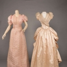 TWO PINK EVENING GOWNS, AMERICA, LATE 1880s