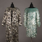 TWO PAILLETTE EMBROIDERED EVENING GARMENTS, AMERICA, 1955 & 1960