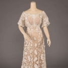 GUIPURE TAPE & NEEDLELACE TEA GOWN, c. 1905