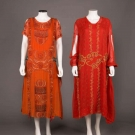 TWO ORANGE PARTY DRESSES, 1920s