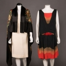 AUTUMNAL PARTY DRESS & LAMÉ SHAWL, AMERICA, 1920-1930s