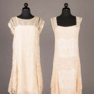 TWO FILET LACE & EMBROIDERED TEA GOWNS, c. 1923
