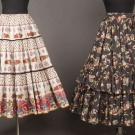 TWO PRINTED SKIRTS, FRANCE & AMERICA, LATE 1940-1950s