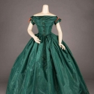 EMERALD GREEN EVENING GOWN, c. 1855