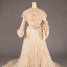 TRAINED EMBROIDERED TEA GOWN, c. 1902
