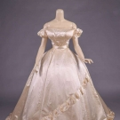 SILK SATIN WEDDING GOWN, c. 1855
