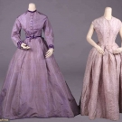 TWO PURPLE SILK GOWNS, 1840s & 1860s
